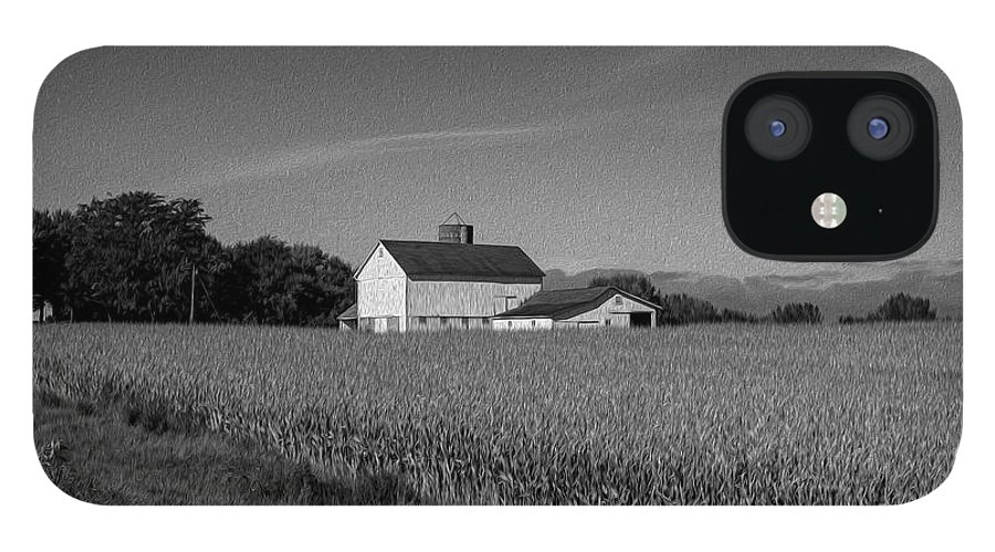 Black And White IPhone 12 Case featuring the photograph Black and White Farmstand by David Bearden