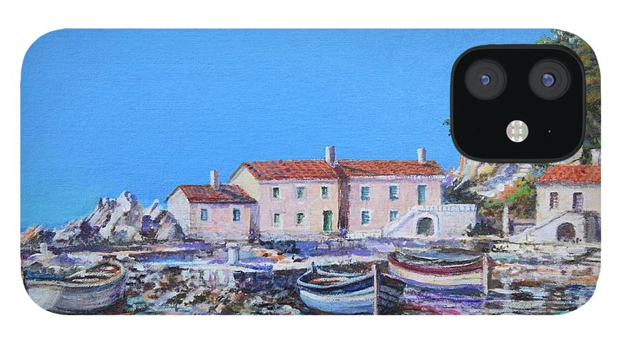 Original Painting IPhone 12 Case featuring the painting Blue Bay by Sinisa Saratlic