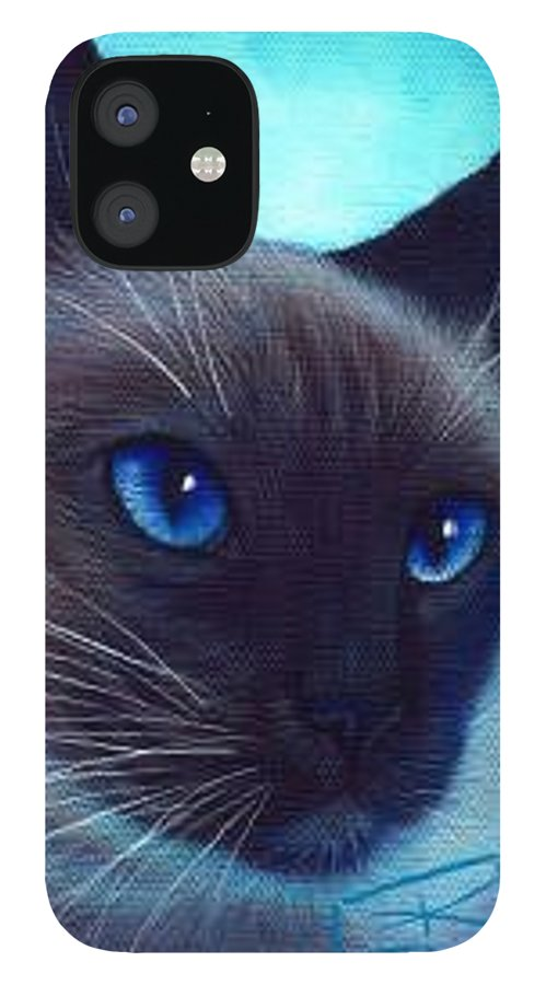 Whimsy IPhone 12 Case featuring the painting Blue Eyes by L Risor