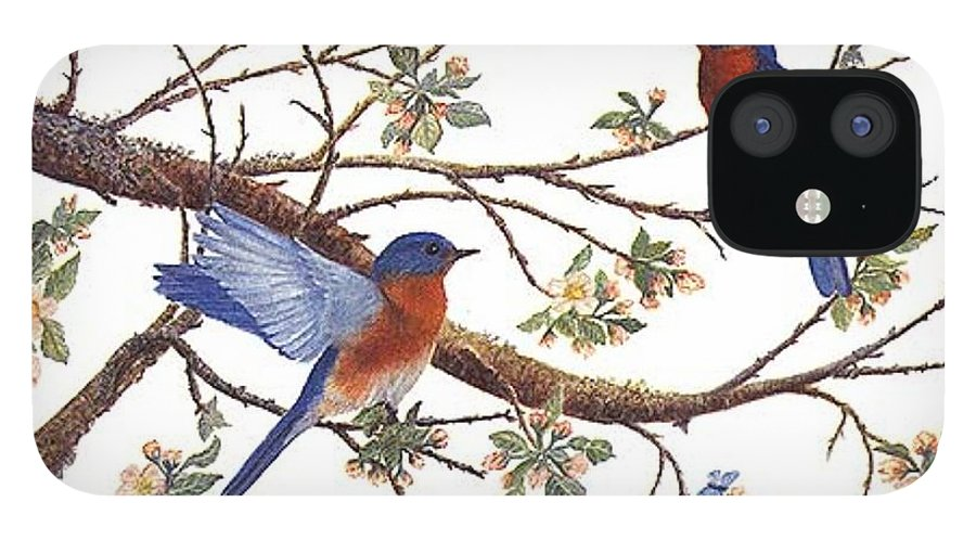 Bluebirds IPhone 12 Case featuring the painting Bluebirds And Apple Blossoms by Ben Kiger