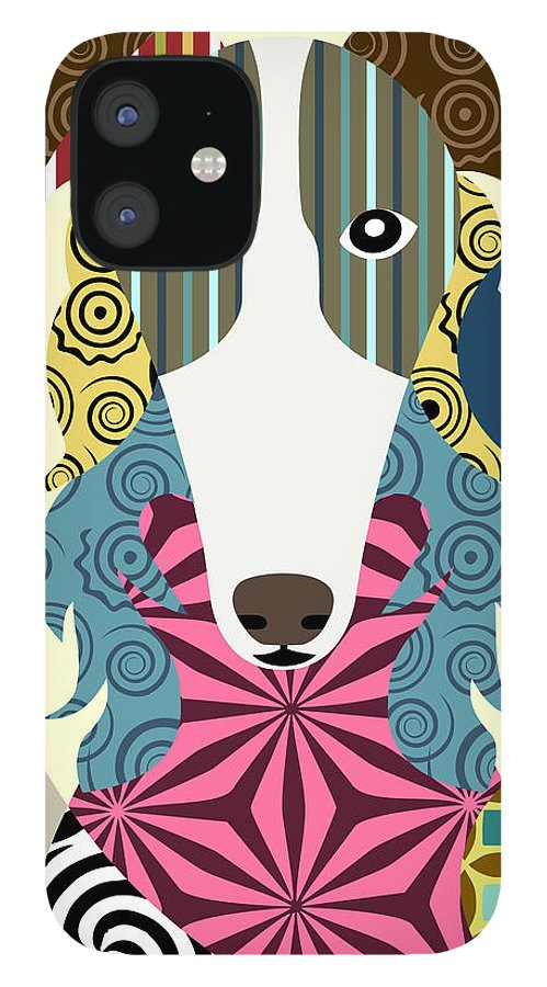 Borzoi Dog Russian Wolfhound IPhone 12 Case featuring the digital art Borzoi Dog Russian wolfhound by Lanre Studio