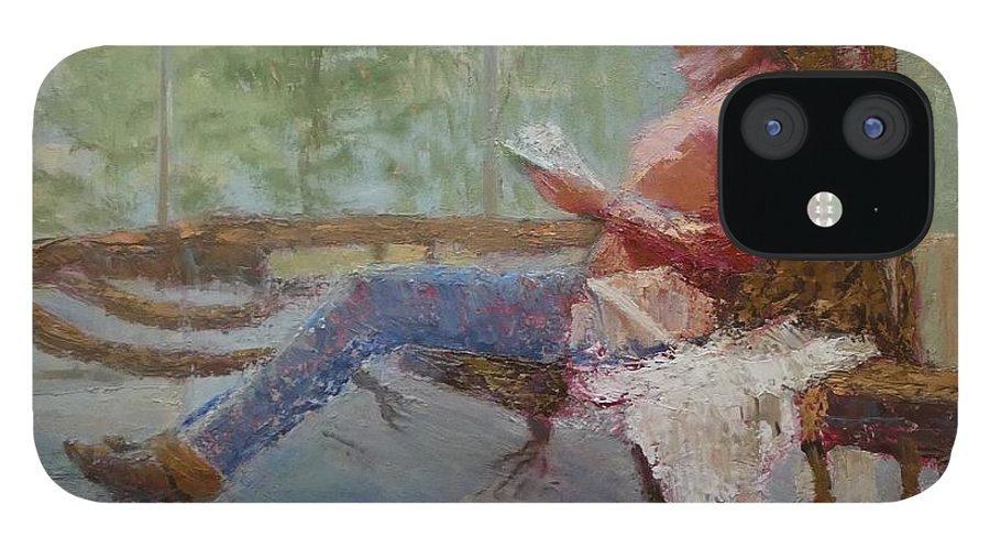 Girl IPhone 12 Case featuring the painting Break at Museum II by Irena Jablonski