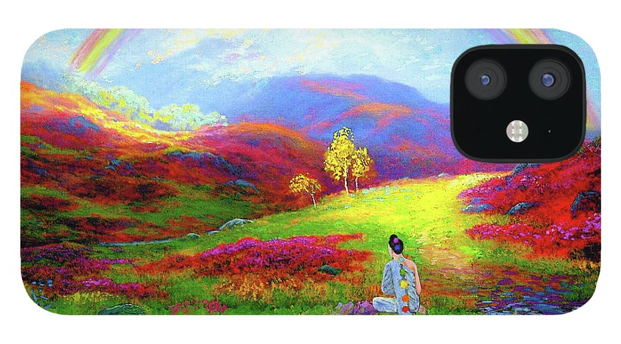 Meditation IPhone 12 Case featuring the painting Buddha Chakra Rainbow Meditation by Jane Small