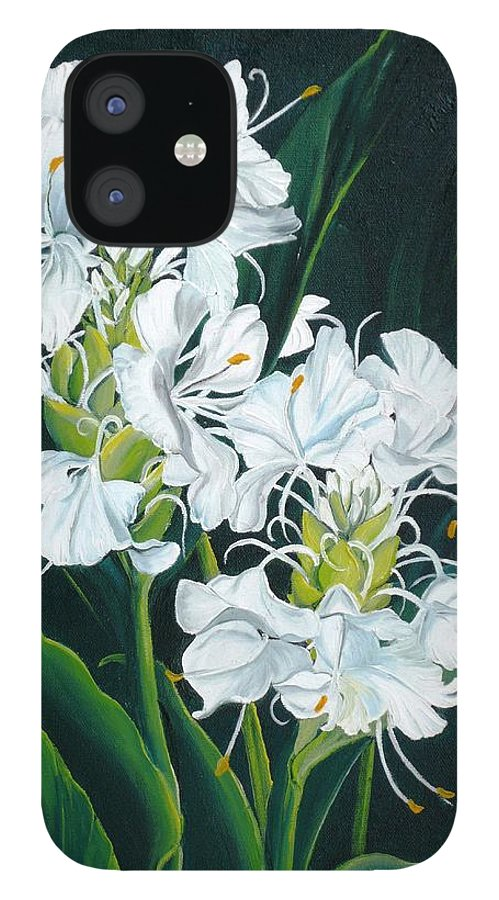 Caribbean Painting Butterfly Ginger Painting Floral Painting Botanical Painting Flower Painting Water Ginger Painting Or Water Ginger Tropical Lily Painting Original Oil Painting Trinidad And  Tobago Painting Tropical Painting Lily Painting White Flower Painting IPhone 12 Case featuring the painting Butterfly Ginger by Karin Dawn Kelshall- Best