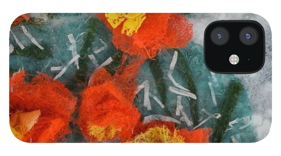 Dryer Sheets IPhone 12 Case featuring the mixed media Cactus Flowers by Charla Van Vlack