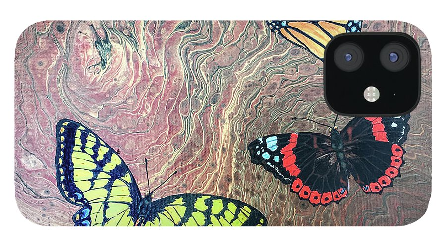 Butterflies IPhone 12 Case featuring the painting California Butterflies by Lucy Arnold