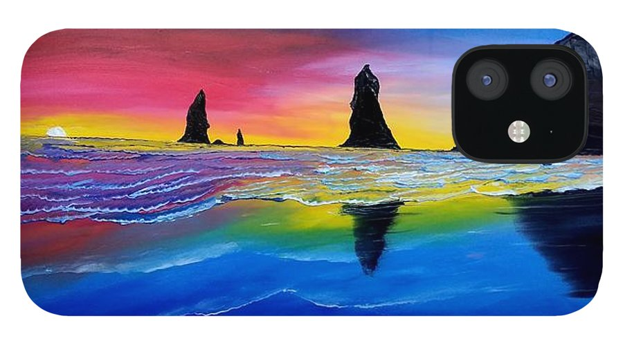 iPhone 12 Case featuring the painting Cannon Beach Red Sunset #1 by Dunbar's Local Art Boutique
