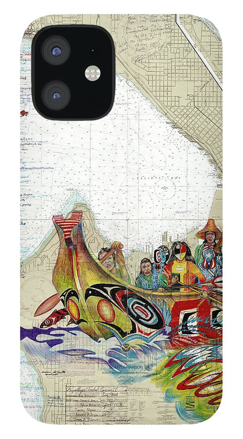 Canoe Journey IPhone Case featuring the drawing Canoe Journey Seattle by Running Fisher