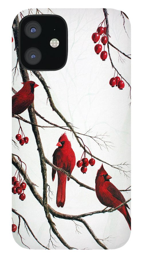 Birds; Cardinals; Trees IPhone 12 Case featuring the painting Cardinals And Crabapples by Ben Kiger