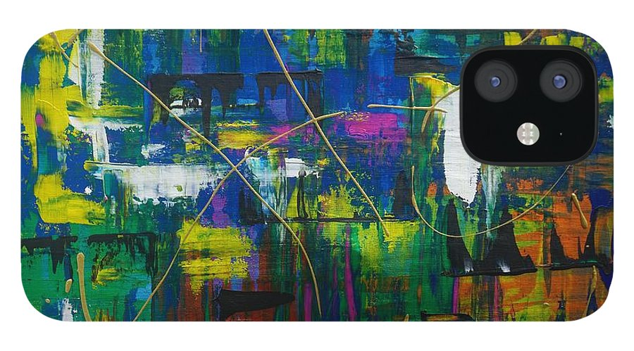 Abstract IPhone 12 Case featuring the painting Carousel by Jimmy Clark
