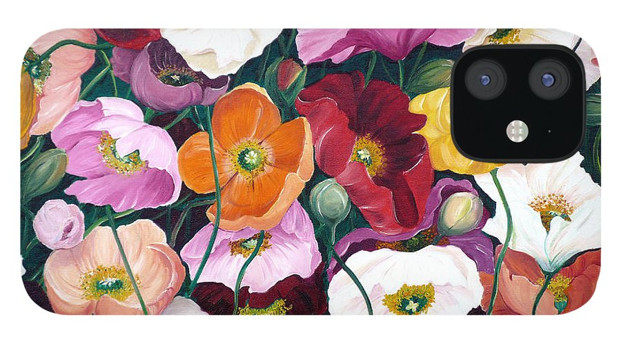 Flower Painting Floral Painting Poppy Painting Icelandic Poppies Painting Botanical Painting Original Oil Paintings Greeting Card Painting IPhone 12 Case featuring the painting Cascade Of Poppies by Karin Dawn Kelshall- Best