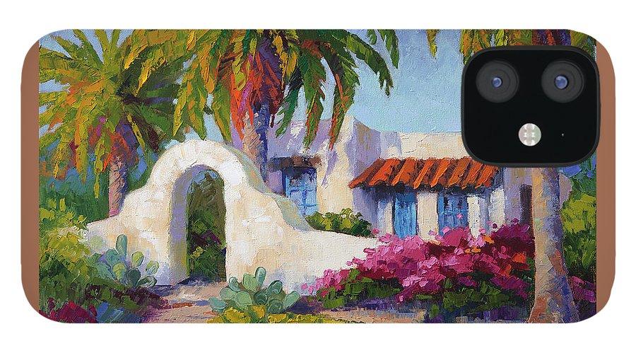 Southwest Art IPhone 12 Case featuring the painting Casita de las Palmas by Linda Star Landon