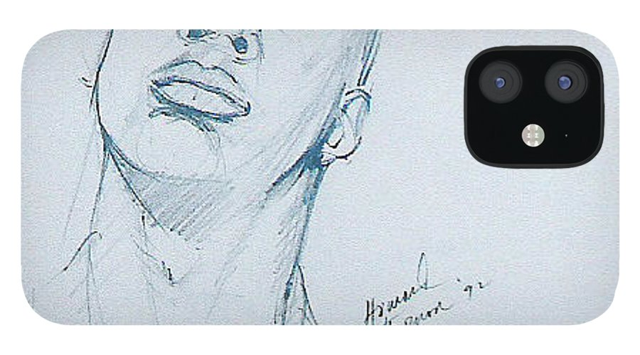 Portrait IPhone 12 Case featuring the drawing Cassius by Howard Stroman