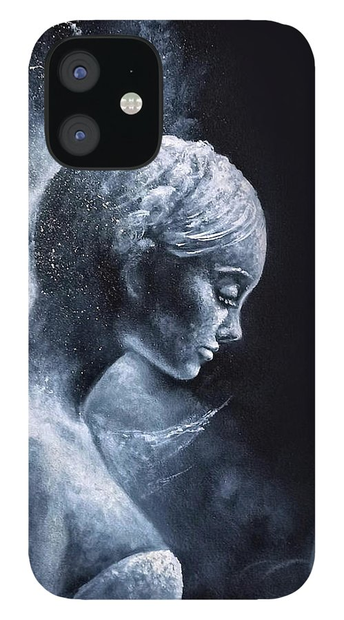 Angel iPhone 12 Case featuring the painting Angel Black and White by Natalja Picugina