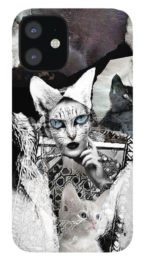 Surrealism IPhone 12 Case featuring the digital art Catwoman by Gunilla Munro Gyllenspetz