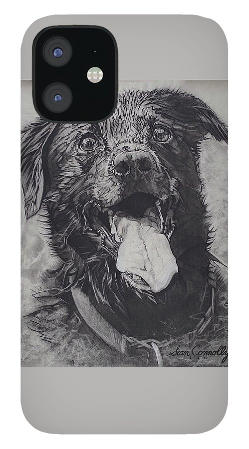 Charcoal Pencil iPhone 12 Case featuring the drawing Charlie Dog by Sean Connolly