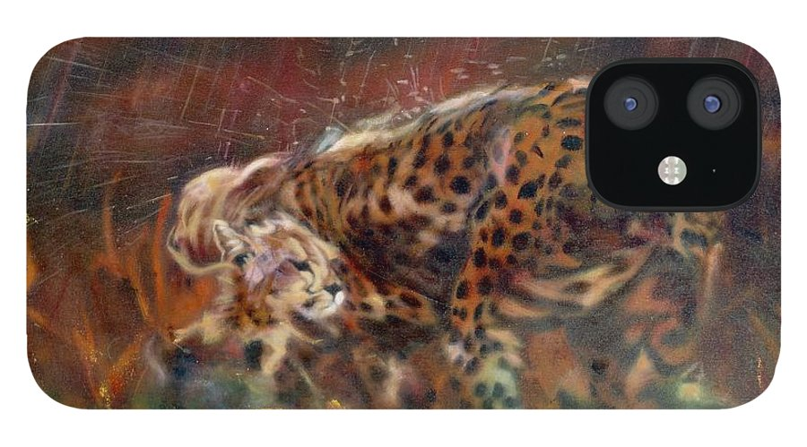 Oil Painting On Canvas IPhone 12 Case featuring the painting Cheetah Family After The Rains by Sean Connolly