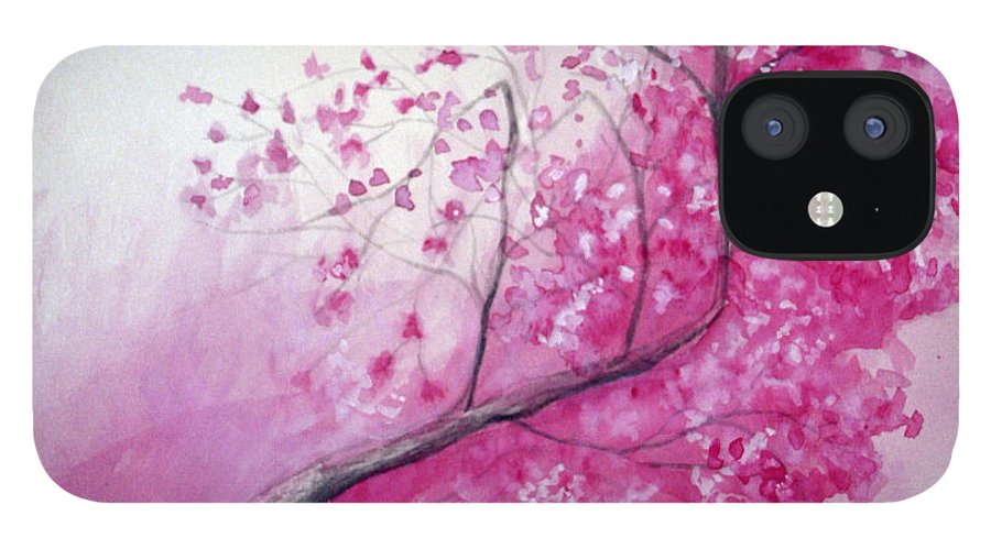 Rick Huotari IPhone 12 Case featuring the painting Cherry Tree In Bloom by Rick Huotari