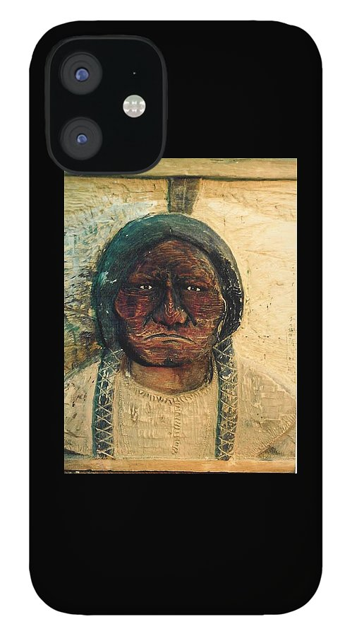 Indian IPhone 12 Case featuring the sculpture Chief Sitting Bull by Michael Pasko