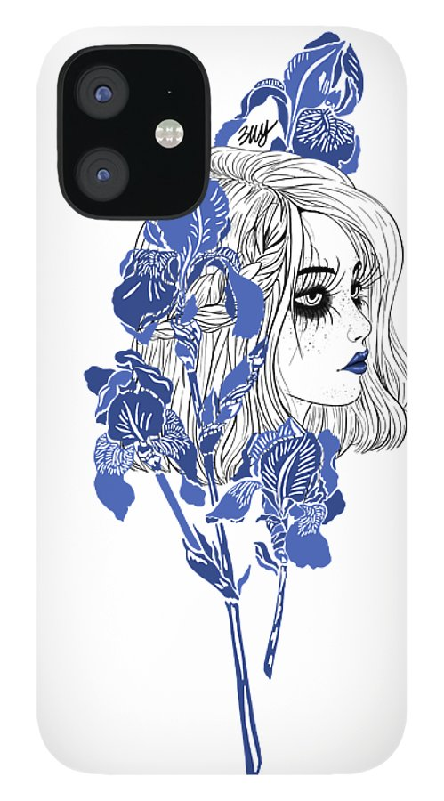 Digital Art IPhone 12 Case featuring the digital art China girl by Elly Provolo