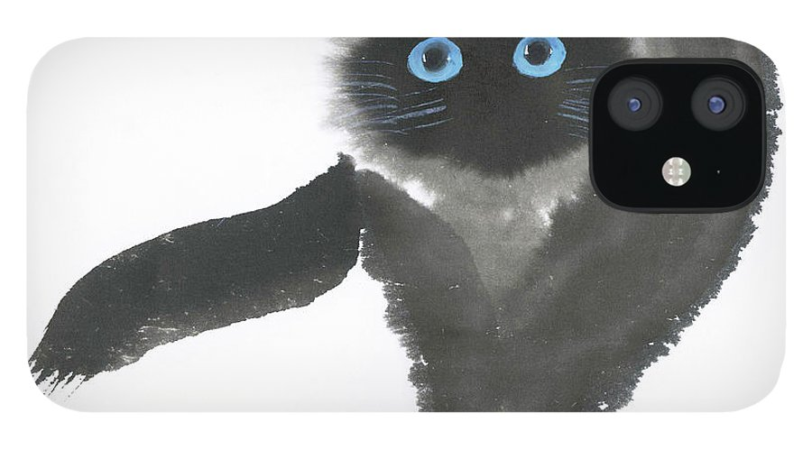 A Dignified Cat With Clear Eyes Is Starring Straight Ahead Intensely. It's A Contemporary Chinese Brush Painting On Rice Paper.  IPhone 12 Case featuring the painting Clear-Eye by Mui-Joo Wee