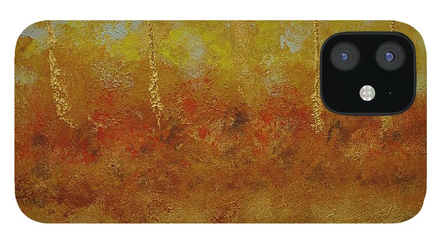 Abstract IPhone 12 Case featuring the painting Skies Over Western Wildfires by Jimmy Clark