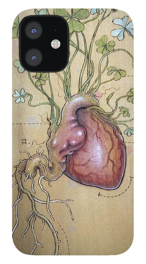 Clover IPhone 12 Case featuring the pyrography Clover Heart by Fay Helfer