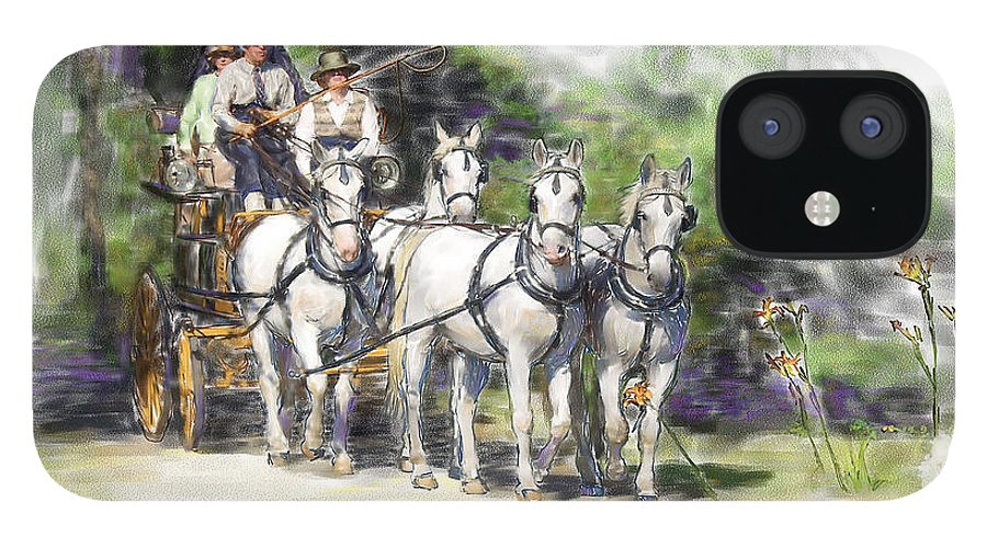 Horse IPhone 12 Case featuring the painting Coaching In Acadia- Carriage Driving Four In Hand by Connie Moses