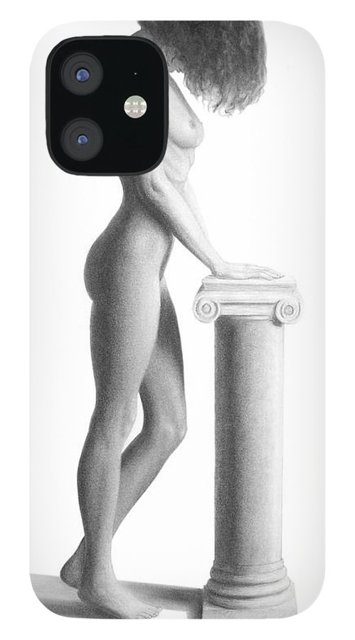Print IPhone 12 Case featuring the drawing Column by Joseph Ogle