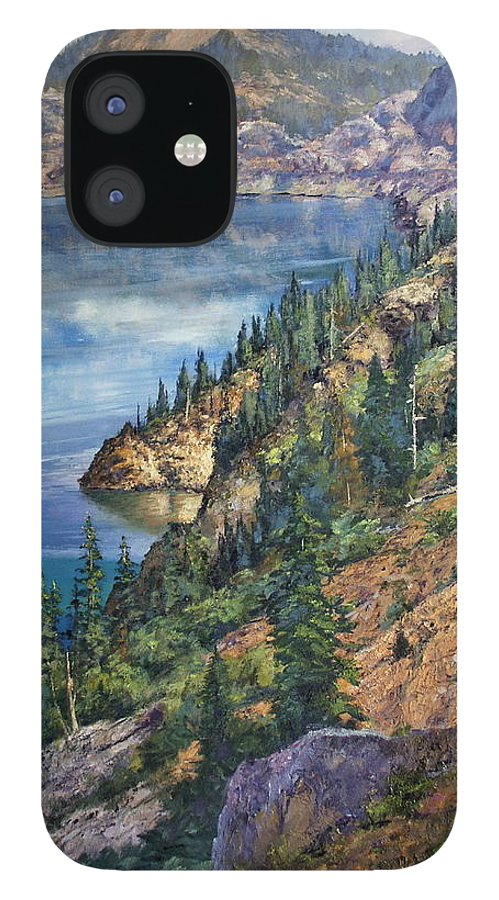 Crater Lake Oregon IPhone 12 Case featuring the painting Crater Lake Overlook by Donald Neff