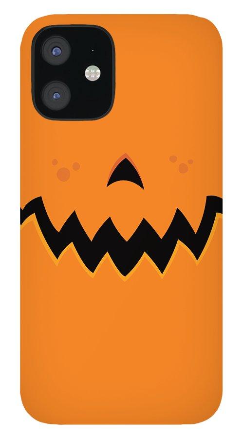 Pumpkin iPhone 12 Case featuring the digital art Crazy Pumpkin Jack-O-Lantern Mouth by John Schwegel