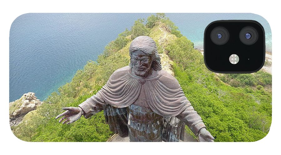 Adventure IPhone 12 Case featuring the photograph Cristo Rei of Dili statue of Jesus by Brthrjhn2099