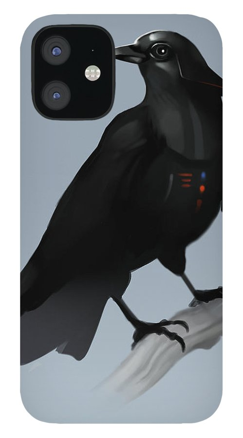 Birds IPhone 12 Case featuring the digital art Crow Vader by Michael Myers