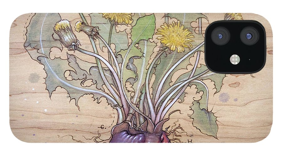 Dandelion IPhone 12 Case featuring the pyrography Dandelion Heart by Fay Helfer