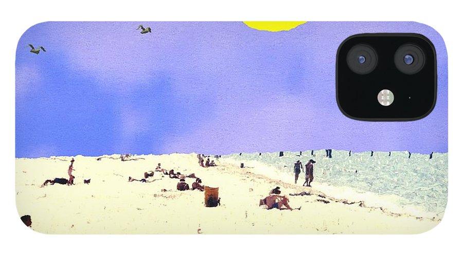 Digital Beach Summer Sea IPhone 12 Case featuring the digital art Day at the Beach by Bob Shimer