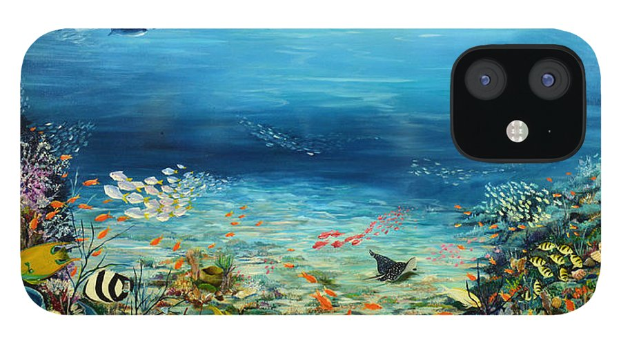 Ocean Painting Undersea Painting Coral Reef Painting Caribbean Painting Calypso Reef Painting Undersea Fishes Coral Reef Blue Sea Stingray Painting Tropical Reef Painting Tropical Painting IPhone 12 Case featuring the painting Deep Blue Dreaming by Karin Dawn Kelshall- Best