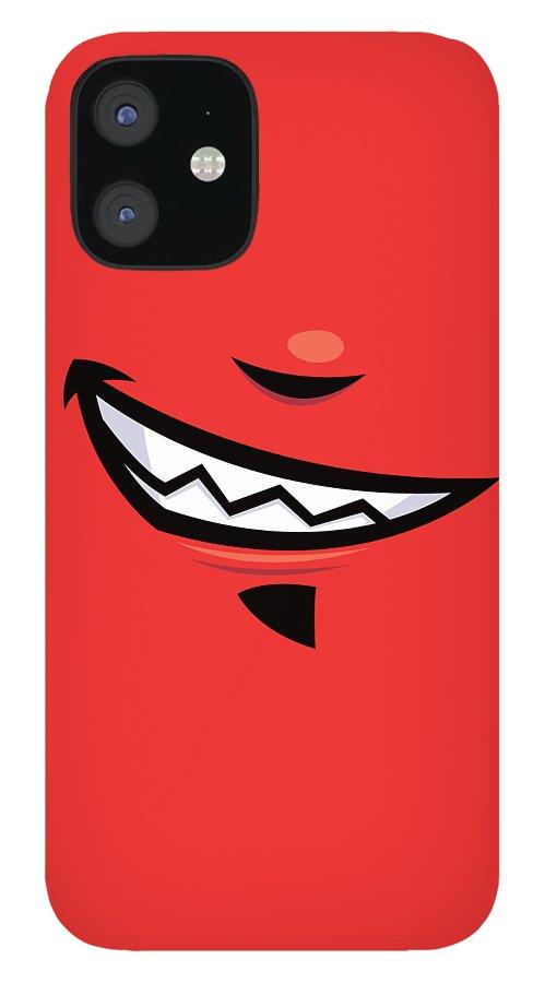 Grin iPhone 12 Case featuring the digital art Devilish Grin Cartoon Mouth by John Schwegel