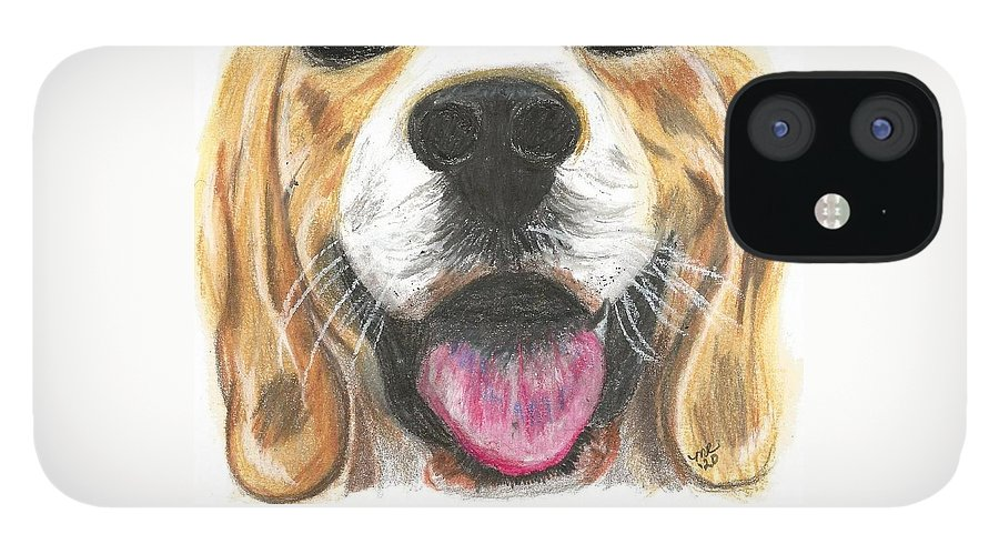 Dog Face IPhone 12 Case featuring the painting Dog Face by Monica Resinger