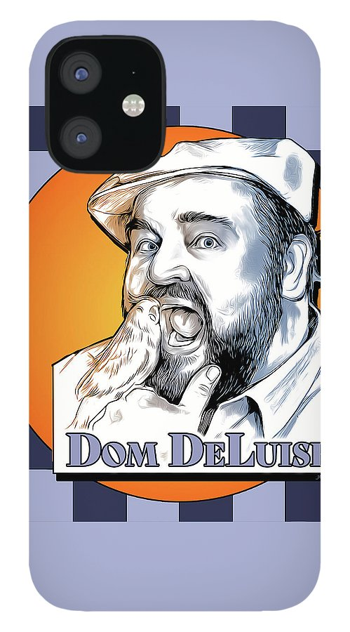 Dom Deluise IPhone 12 Case featuring the digital art Dom and the Bird by Greg Joens