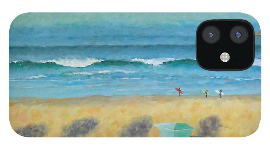 Life Guard Tower IPhone 12 Case featuring the painting Tower Number Seven by Philip Fleischer