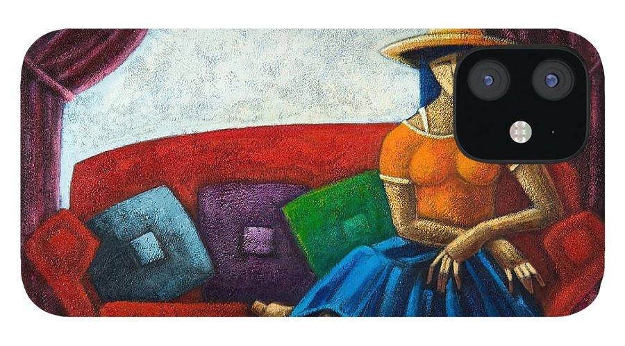 Puerto Rico IPhone 12 Case featuring the painting El Ultimo Romance Del Verano by Oscar Ortiz