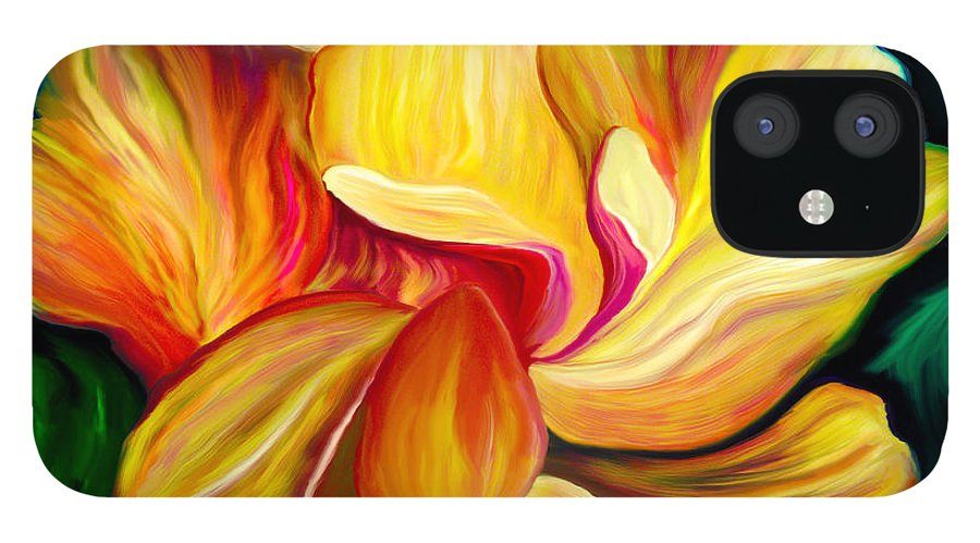 Hibiscus Painting IPhone 12 Case featuring the painting Emergence II by Patricia Griffin Brett