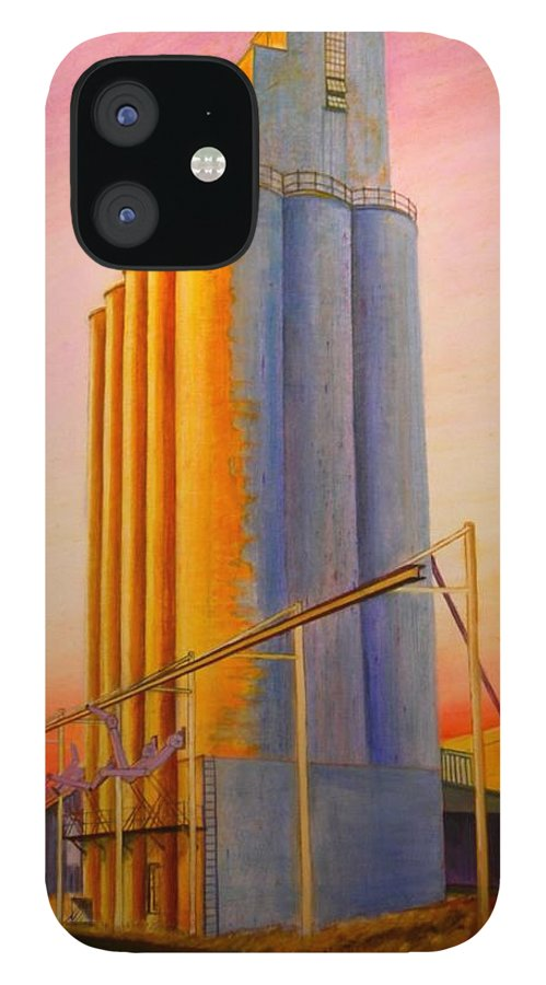 Grain IPhone 12 Case featuring the painting Endicotte Silos by Leonard Heid