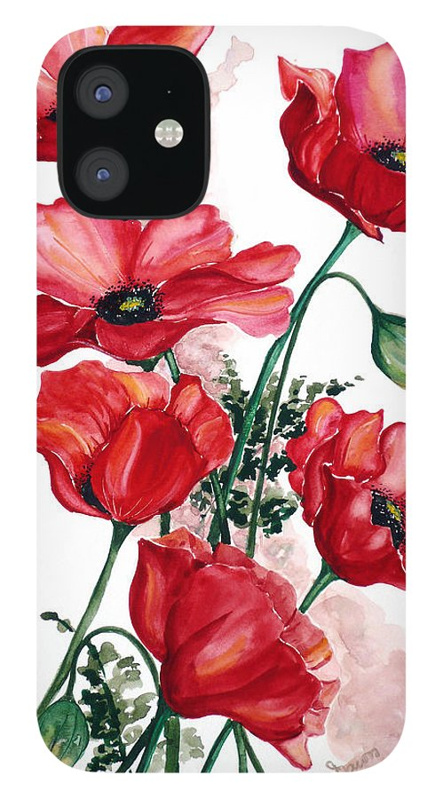 Original Watercolor Of English Field Poppies Painted On Arches Watercolor Paper IPhone 12 Case featuring the painting English Field Poppies. by Karin Dawn Kelshall- Best