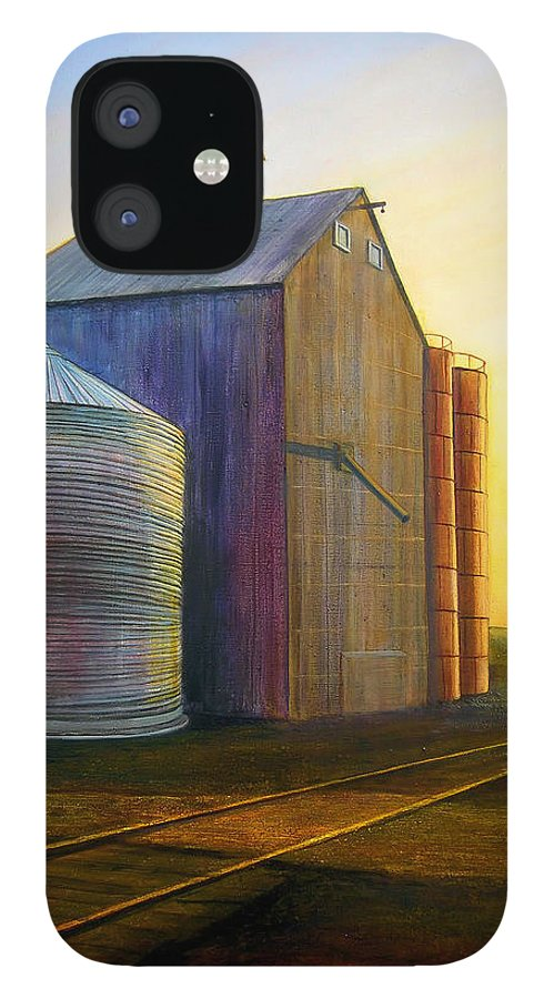Silos IPhone 12 Case featuring the painting Estes Road Twilight by Leonard Heid