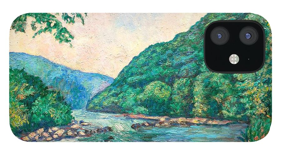 Landscape iPhone 12 Case featuring the painting Evening River Scene by Kendall Kessler