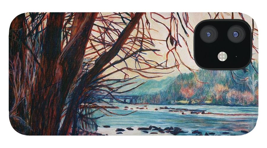 New River IPhone 12 Case featuring the pastel Fall on the New River by Kendall Kessler
