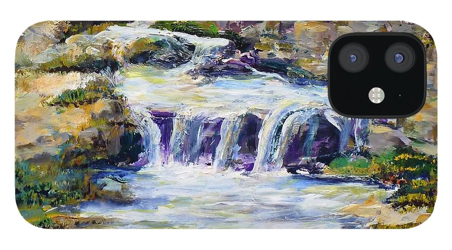 Los Angeles IPhone 12 Case featuring the painting Fern Dell Creek Noon by Randy Sprout
