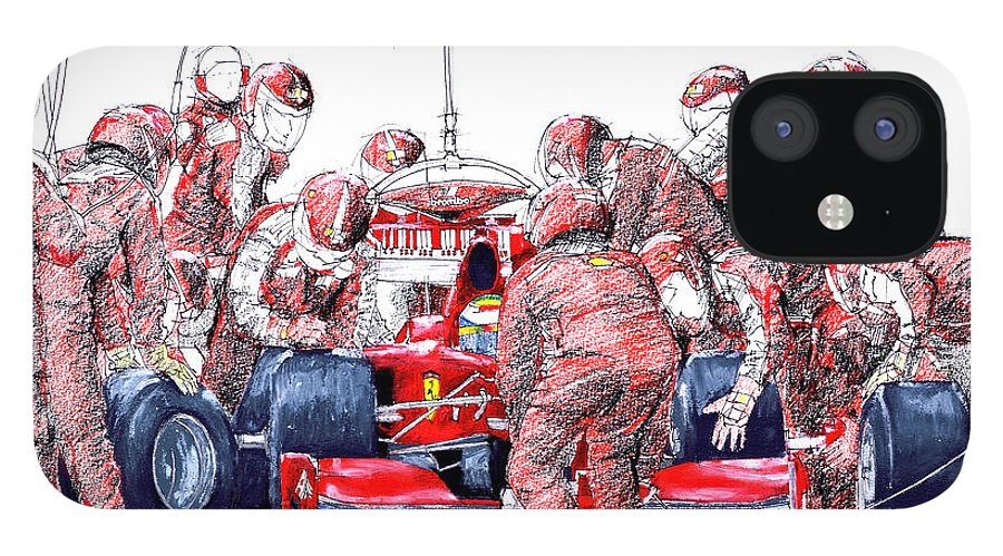 Ferrari IPhone 12 Case featuring the drawing Ferrari a boxes, pits, Original handmade drawing by Drawspots Illustrations