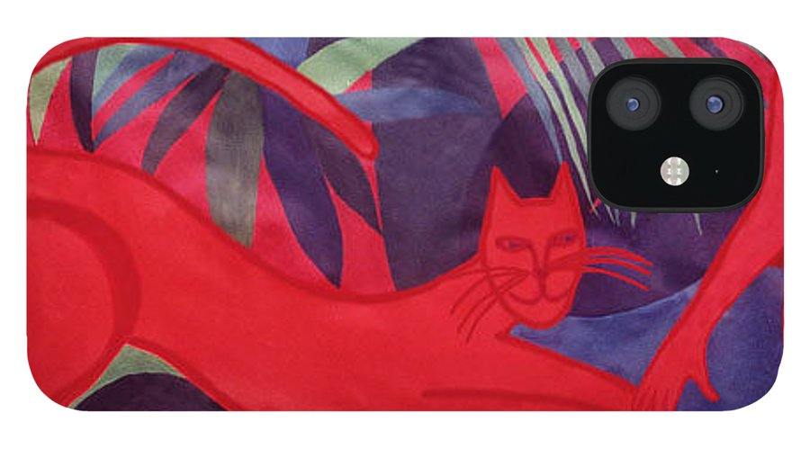 Cat IPhone 12 Case featuring the painting Fire and Earth by Ingrid Torjesen